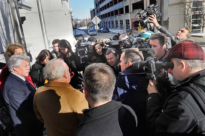 Defense attorney Dan Lilley and his client, Mark Strong, speak to the media outside of Cumberland County Court following a hearing on Friday, Jan. 18, 2013.