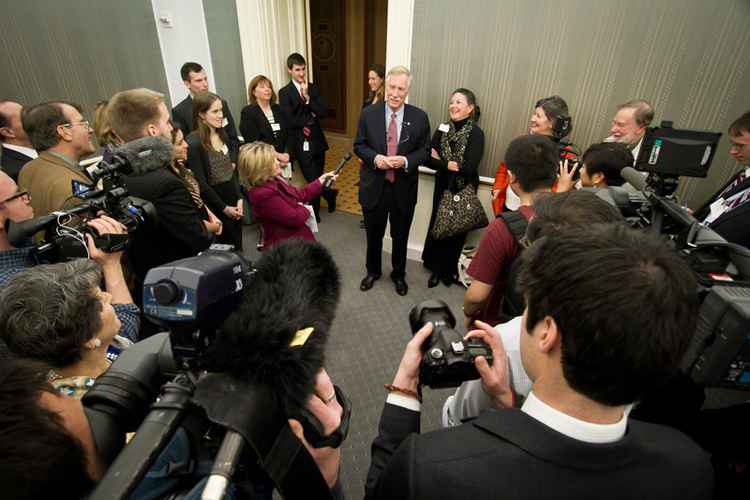 Sen. Angus King of Maine greets his supporters and family during a reception celebrating his official swearing-in ceremony at the Capitol on Thursday.