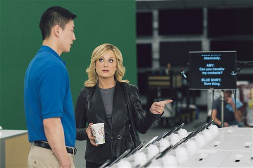 This undated image provided by Best Buy shows Amy Poehler on the set of the company's Super Bowl commercial.