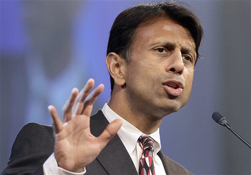 "In this July 27, 2012, file photo, Louisiana Gov. Bobby Jindal speaks in Hot Springs, Ark. Jindal is calling on the Republican Party to ""recalibrate the compass of conservatism."""