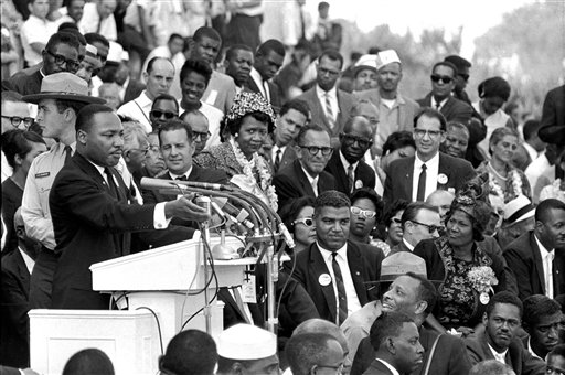 """The Rev. Dr. Martin Luther King Jr., head of the Southern Christian Leadership Conference, speaks to thousands during his """"I Have a Dream"""" speech in front of the Lincoln Memorial for the March on Washington for Jobs and Freedom, in Washington, on Aug. 28, 1963."""