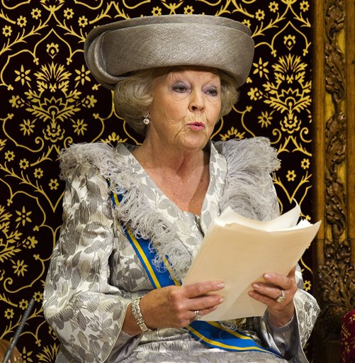 Queen Beatrix formally opens the new parliamentary year with a speech in The Hague, Netherlands, in this Sept. 20, 2011, photo.