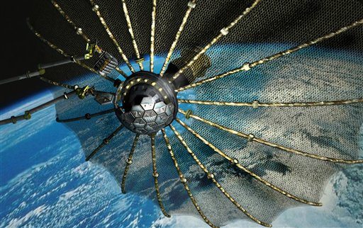 This illustration released by The Defense Advanced Research Projects Agency shows a satellite used for DARPA's Phoenix program scavenging defunct communication satellites for their valuable parts and recycling them to build brand new ones.