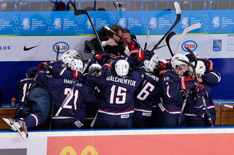 Team USA celebrates in the final seconds of the game after defeating Sweden 3-1 in the gold-medal game at the IIHF World Junior Championships in Ufa, Russia on Saturday. 2012;2013;athlete;athletes;athletic;athletics;Bronze;Canada;Cana