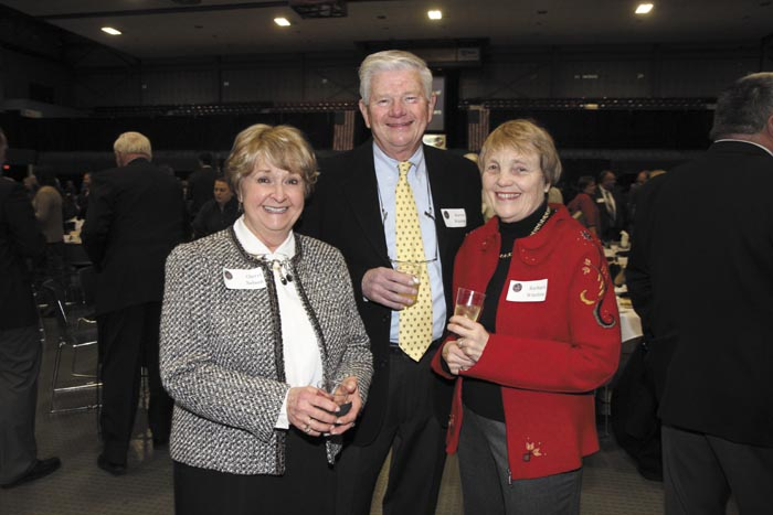 From left, Cherri Nelson of Doyle and Nelson, with Warren and Barbara Wilson, representing Pierce Atwood, at the Kennebec Valley Chamber of Commerce's annual awards banquet at the Augusta Civic Center on Friday night.