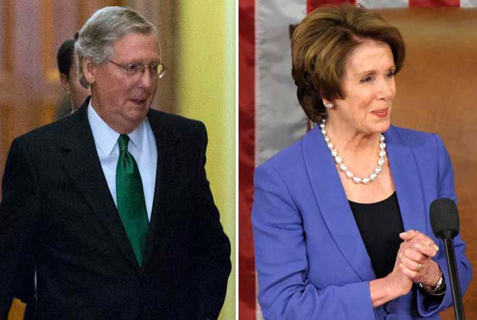 Senate Minority Leader Mitch McConnell, R-Ky., and House Minority Leader Nancy Pelosi, D-Calif., appeared on Sunday talk shows, where they disagreed over whether discussions of new taxes are off the table in the upcoming fiscal debate.