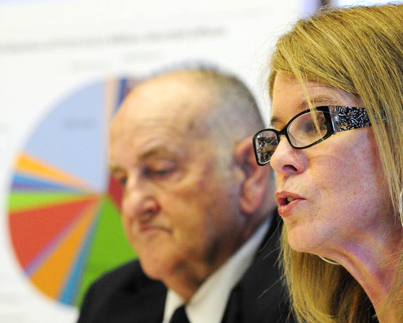 Sawin Millett, the commissioner of administrative and financial services, left, and Department of Health and Human Services Commissioner Mary Mayhew at a state budget news conference on Friday in the Cabinet Room of the State House in Augusta.