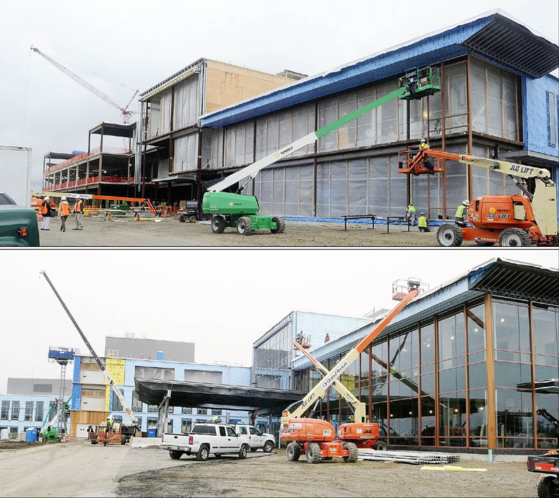 Staff photo by Joe Phelan The top photo shows the front entrance of the new MaineGeneral regional hospital on 5/22/12 in north Augusta. and the bottom one shows the same side of the new MaineGeneral regional hospital on 12/4/12 in north Augusta.