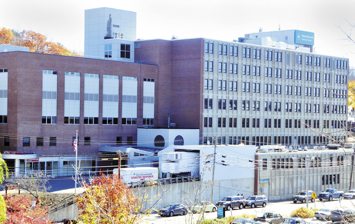 This Oct. 24 photo, taken from Memorial Bridge, shows the MaineGeneral hospital on East Chestnut Street in Augusta. Without a huge tax break, the building's new owner says he can't make a go of redeveloping the property, but councilors say some constituents are grumbling about giving such a big break to Augusta East Development Corp.