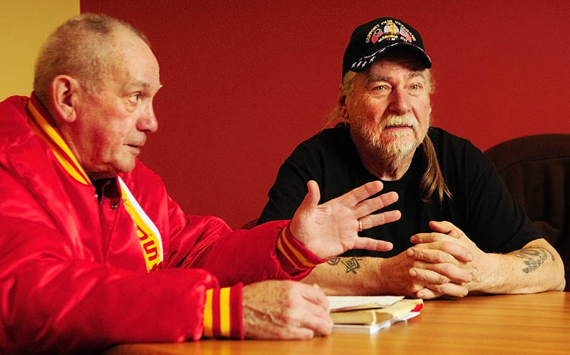 Marine Corps veterans Ralph Sargent, left, and Bill Witt speak on Thursdayabout their service during the siege of Khe Sahn, in an interview in Augusta.