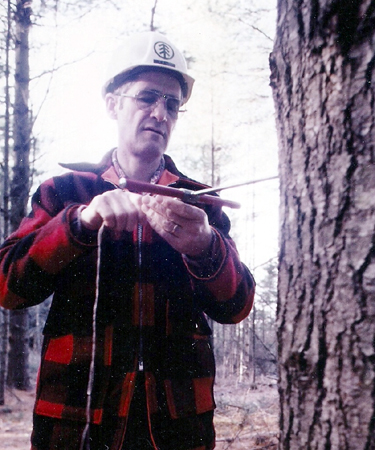 Abbott Ladd uses an increment borer to see how old the tree is while working for Boise Cascade in Rumford in this undated photo.