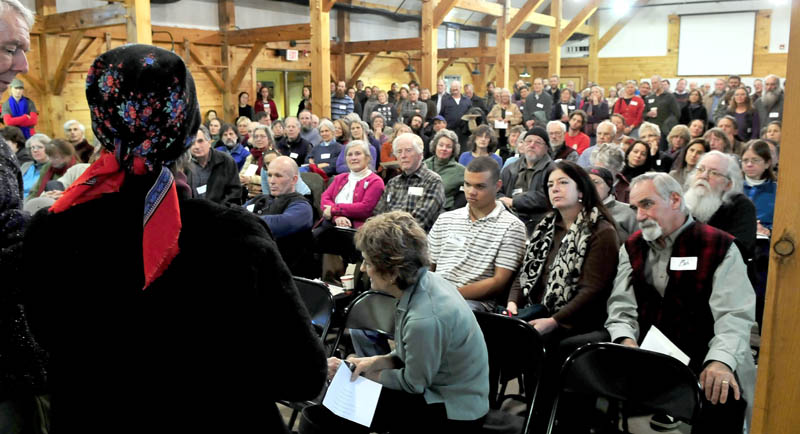 Beedy Parker was one of many people who spoke on Sunday, during a memorial service for Russell Libby, who was the executive director of the Maine Organic Farmers and Gardeners Association in Unity for 17 years. Libby, 56, died from cancer on Dec. 9.