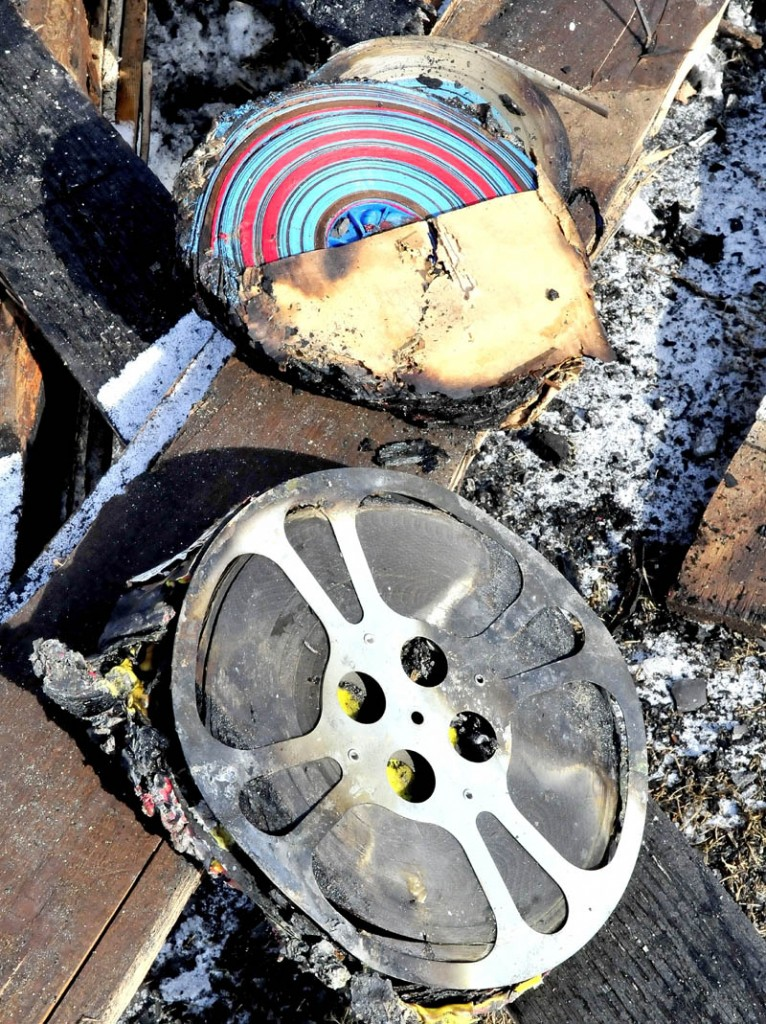 Some of the burned reels of film that were part of a lifetime collection owned by Richard Searls and were destroyed in a fire at his home in Solon on Saturday.