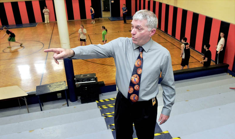 Winslow Junior High School Principal Kevin Michaud discusses the idea of closing the school, built in 1928, and building a new one attached to the elementary school.