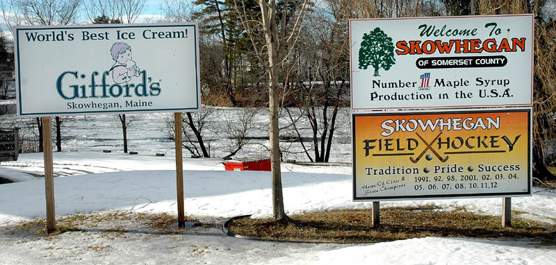 Signs celebrating Skowhegan successes have been in place for about four years. Selectmen want to adopt a policy controlling the size, location and number of signs placed along the roadside.
