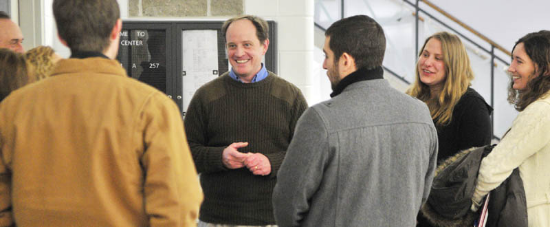 Mark Willis, Republican National Committee delegate for Maine, talks to fellow party members on Saturday, after a state committee meeting in Augusta City Center. Willis seeks support for a bid to become the Republican National Committee chairman.
