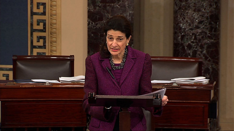 Olympia Snowe gives her farewell speech to the Senate on Dec. 13. She cast her last vote about 2 a.m. on New Year's Day.