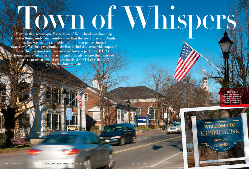 "The prostitution scandal in Kennebunk is the focus of a feature story in the latest issue of Vanity Fair, going on sale nationally Tuesday. ""This article puts the spotlight back on Kennebunk,"" said one Portland lawyer."