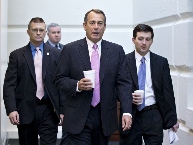 Speaker John Boehner, with other Republicans on Capitol Hill earlier this month, has told party members at a retreat that the House won't act on gun control until the Senate does.