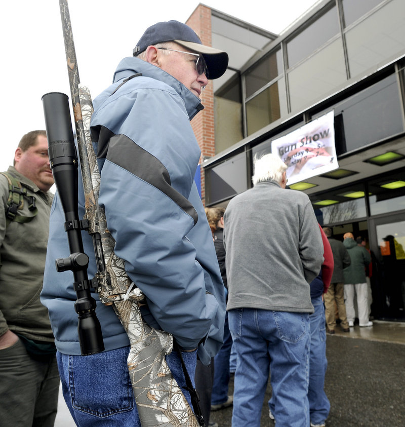 Sid Strom from the Oxford County town of Norway hopes to trade his .223-caliber hunting rifle at the event.