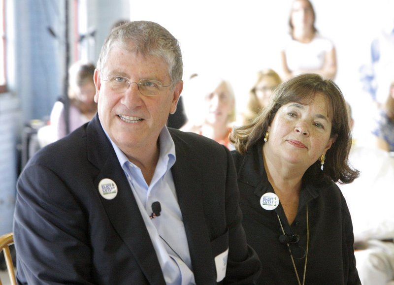 In this July 2010 file photo, Eliot Cutler and Ina Garten, better known as the Barefoot Contessa from her Food Network television show, listen to a question from a member of the audience during a luncheon in Portland. Cutler, the independent who finished second in Maine's 2010 gubernatorial race, may take his first step this week toward a second run for governor.