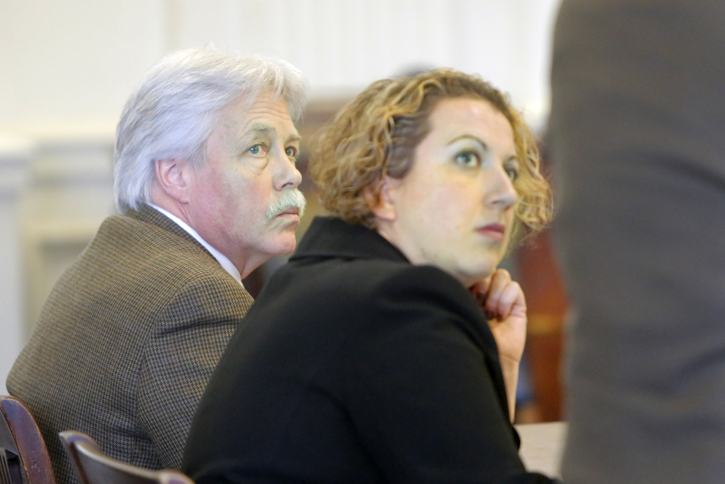 Mark Strong Sr., left, and Tina Nadeau, his co-counsel, listen to Strong's other co-counsel, Daniel Lilley, address Justice Nancy Mills on Tuesday at York County Superior Court in Alfred.