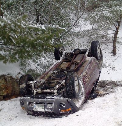 A car rolled over Wednesday afternoon on Route 17 in Whitefield.