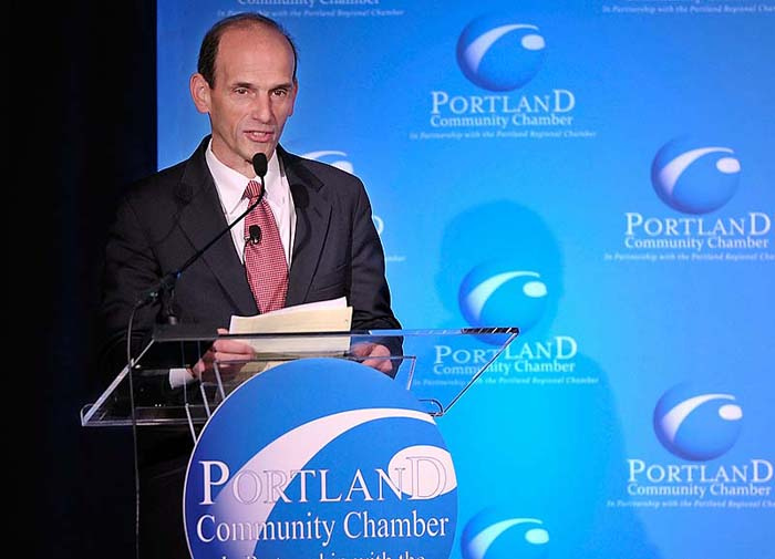 "Former Gov. John Baldacci speaks at Portland Regional Chamber's Eggs and Issues meeting on Thursday morning. ""We don't have the maturity or leadership today to recognize that we're going to have disagreements and we have to work together,"" he said."