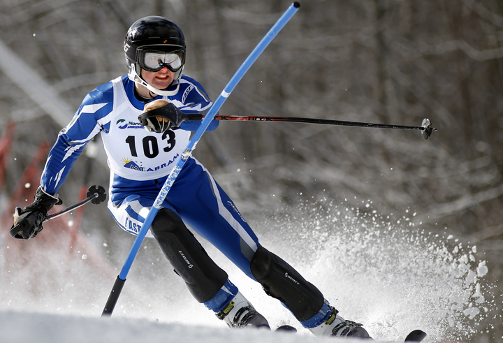 Ian Shea of Fryeburg Academy keeps his eye on an upcoming gate. Shea finished 13th in slalom.