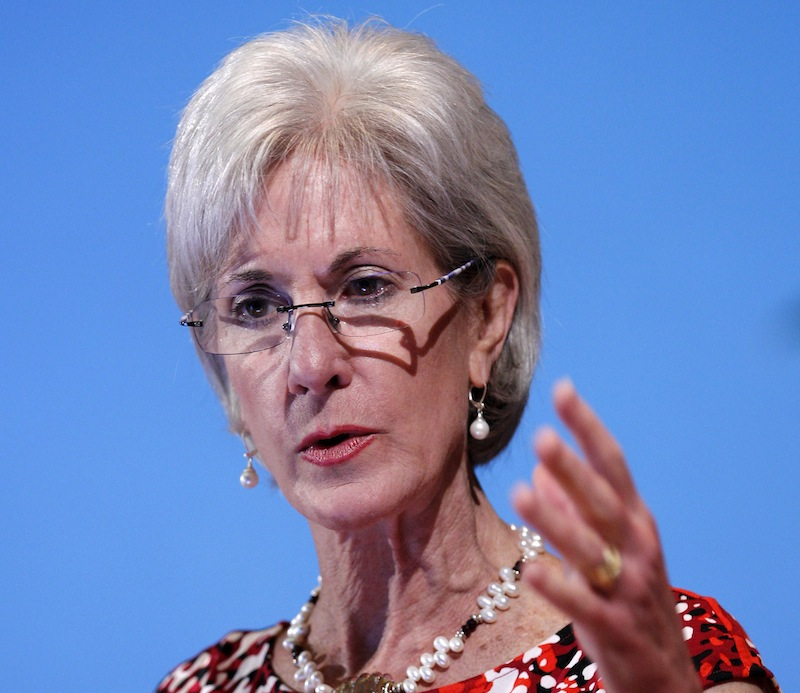 "In this May 15, 2012 file photo, Health and Human Services Secretary Kathleen Sebelius speaks in Bethesda, Md. Facing a wave of lawsuits over what government can tell religious groups to do, the Obama administration on Friday proposed a compromise for faith-based nonprofits that object to covering birth control in their employee health plans. Sebelius said in a statement that the compromise would provide ""women across the nation with coverage of recommended preventive care at no cost, while respecting religious concerns."" (AP Photo/Jose Luis Magana, File)"