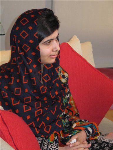 "A Jan. 22, 2013, photo, of 15-year-old Malala Yousefza, who says she is ""getting better, day by day."""