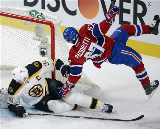 Montreal Canadiens left wing Max Pacioretty (67) is upended by Boston Bruins defenseman Zdeno Chara (33) during the second period of their NHL hockey game, Wednesday, Feb. 6, 2013, in Montreal. (AP Photo/The Canadian Press, Ryan Remiorz) Canada Quebec Montreal hockey;NHL;athlete;athletes;athletic;athletics;Canada;Canadian;competative;compete;competing;competition;competitions;game;games;League;National;play;player;playing;pro;professional;sport;sporting;sports;team Montreal Canadiens Bell Center Centre Bell Carolina Hurricanes