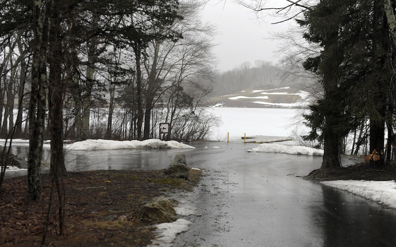 This Wednesday, Feb. 27, 2013 photo shows the state boat launch at the end of Lake of Isles Road in Preston, Conn. State police said the bodies of 6-month-old Ashton and 2-year-old Alton Perry and their grandmother, Debra Denison, 47, were found Tuesday night in Denison's van at the boat launch. State police called the deaths a double murder-suicide Wednesday, saying they believe Denison shot the boys and herself. (AP Photo/The Day, Sean D. Elliot)