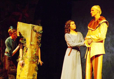 "From left: Evan LaChance of Vassalboro, Rachael Richie Keyes (the tree) of Palermo, Charlotte MacDonald of West Gardiner, and Ben Garthoff of Jefferson perform in Shakespeare's ""As You Like It"" during a recent show at Cumston Hall in Monmouth. The show, presented by the Southern Maine Association of Shakesparean Homeschoolers, will also be performed tonight and Friday at 6:30 p.m., and Saturday at 2 p.m."