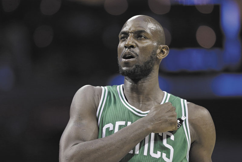 PUSHING THROUGH: Though decimated by injuries, Kevin Garnett and the Boston Celtics have continued to rack up wins through the All-Star break.