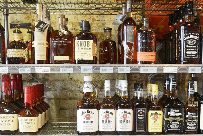 Liquor on display at Downeast Beverage on Commercial St. in Portland.
