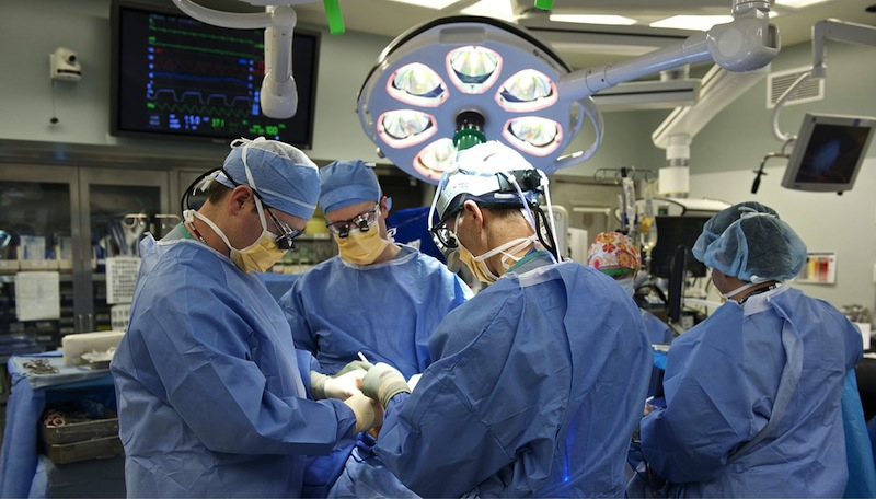 This February 2013 photograph provided by the Brigham and Women's Hospital shows their plastic surgery transplant team operating on Carmen Blandin Tarleton, of Thetford, Vt., at Brigham and Women's Hospital in Boston. Tarleton, 44, underwent face transplant surgery earlier this month. She was doused with industrial strength lye by her former husband in 2007 and suffered chemical burns over 80 percent of her body. The mother of two wrote a book about her experience that describes her recovery. (AP Photo/Brigham and Women's Hospital)