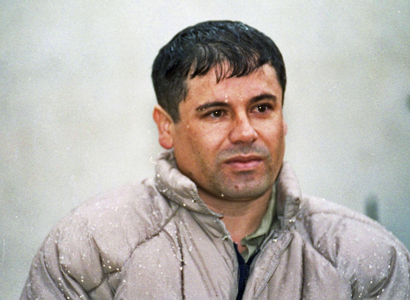 """In this June 10, 1993 file photo, Joaquin Guzman Loera, alias """"El Chapo"""" Guzman, is shown to the media after his arrest at the high security prison of Almoloya de Juarez, on the outskirts of Mexico City. Guzman escaped from a maximum security federal prison in 2001 and continues to be a fugitive. On Thursday, Feb. 14, 2013, the Chicago Crime Commission and the Drug Enforcement Administration is scheduled to name Guzman, the head of Mexico's Sinaloa crime cartel, as the new Public Enemy No. 1., the first time since Prohibition-era gangster Al Capone that authorities in the city deemed a crime figure so ominous a threat to deserve the label."""