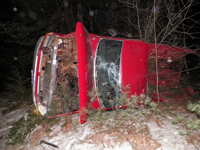 The 1993 Ford pickup truck, driven by George Day, 30, of Rome, which rolled over after a high-speed pursuit through Belgrade on Saturday evening.
