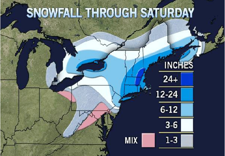 AccuWeather's forecast for snow accumulations.