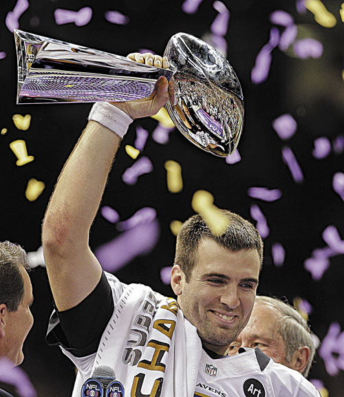 LEADING THE WAY: Baltimore quarterback Joe Flacco holds up the Vince Lombardi Trophy after the Ravens defeated the San Francisco 49ers 34-31 in Super Bowl XLVII on Sunday in New Orleans.