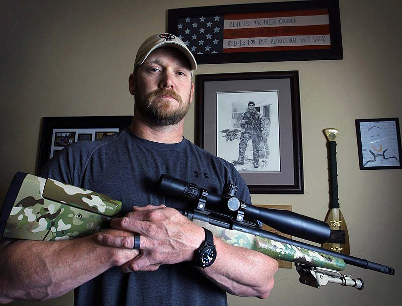 "In this April 6, 2012, photo, former Navy SEAL and author of the book ""American Sniper"", Chris Kyle poses in Midlothian, Texas. A Texas sheriff has told local newspapers that Kyle has been fatally shot along with another man on a gun range on Saturday."
