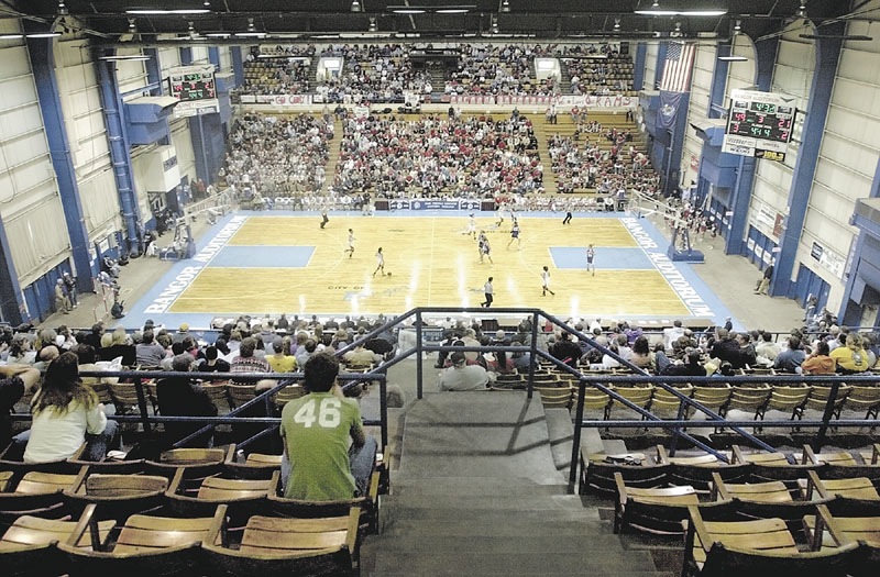 THE MECCA: The Bangor Auditorium, with its V-shape and seating that puts fans right on top of the action, can get extremely loud. The Auditorium will host high school basketball games for the last time this year. The building will soon be torn down and replaced by the Cross Insurance Center.