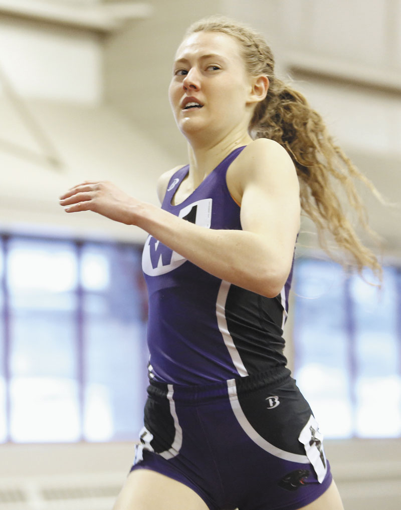 Waterville Senior High School senior Bethanie Brown set the state record in the 1-mile and 2-mile run at the Class B state championship meet Monday in Lewiston.
