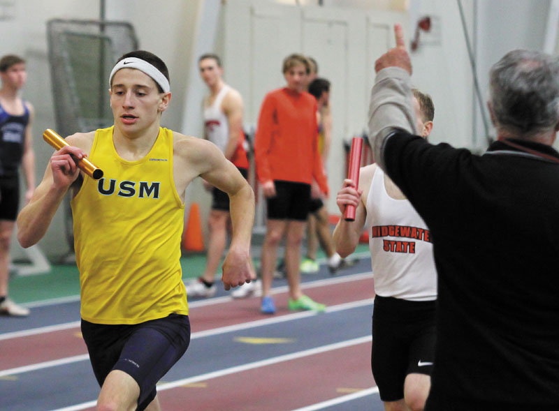RECORD SETTER: University of Southern Maine sophomore Kevin Desmond, a Monmouth Academy graduate, set the school record in the 800-meter run at the New England Intercollegiate Amateur Athletic Association championship last weekend. 2013 Indoor Track Kevin Desmond LEC Championships mens races