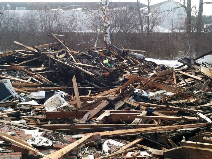 The scene following Tuesday's explosion at 29-31 Bluff Road in Bath.