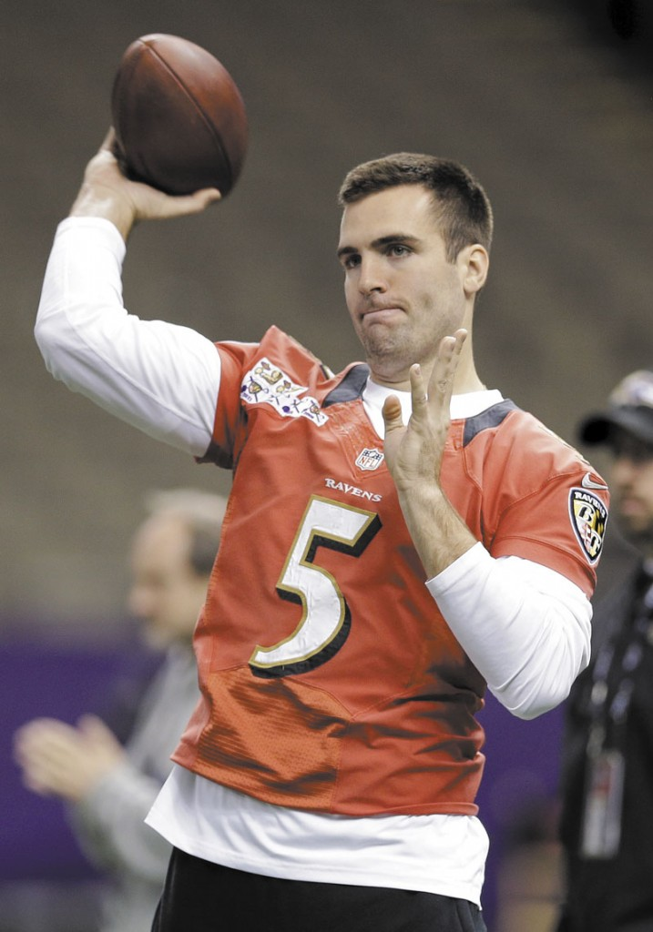 GETTING READY: Baltimore Ravens quarterback Joe Flacco throws a pass during a walkthrough for Super Bowl XLVII on Saturday in the Mercedes-Benz Superdome in New Orleans. The Ravens face the San Francisco 49ers in Super Bowl XLVII on Sunday.