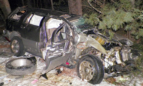 This 2003 Mercury Mountaineer rolled over and crashed into trees early Wednesday morning in Vienna, killing the driver, Hilda Howe, 36, of Farmington Falls.