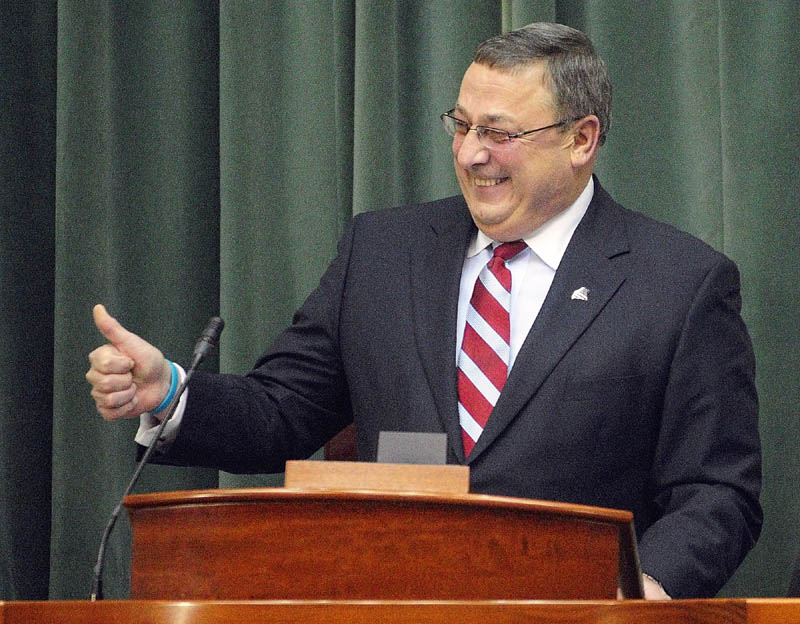 Gov. Paul LePage gestures near the end of his first State of The State address in 2012. His second State of the State comes under very different circumstances.