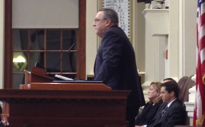 Gov. Paul LePage makes his opening remarks at Tuesday's State of the State address, at the State House in Augusta.